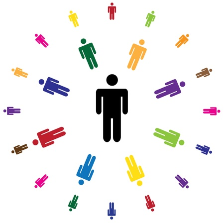 human figures: human figures in rounds - illustration