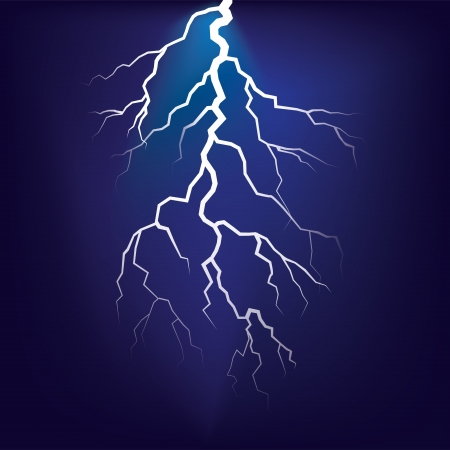 lightnings: Lighting flash on the dark sky - illustration