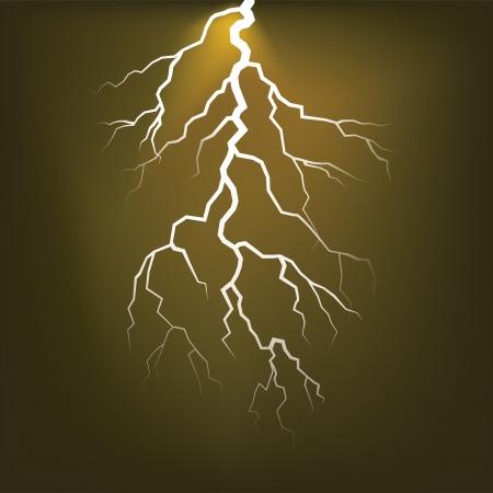 thunder storm: Lighting flash on the dark sky - illustration