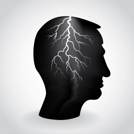 brain storm: flash light in the head, illustration Illustration