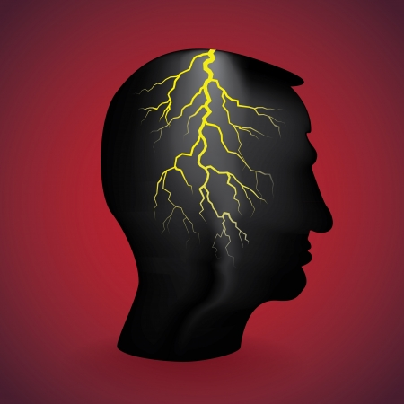 flash light in the head, illustration Vector