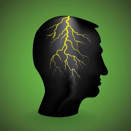 web side: flash light in the head, illustration Illustration