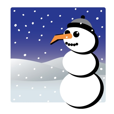 Snowman winter christmas theme illustration Stock Vector - 16261777