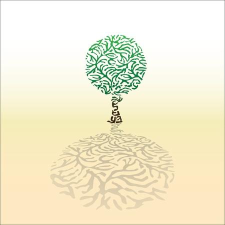 orange tree: Abstract tree created from the zebra pattern, illustration Illustration