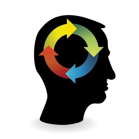 recycle wheel in human head - illustration Vector
