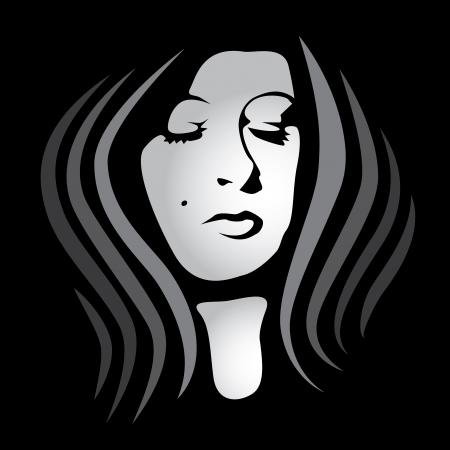 woman face on dark background - illustration Stock Vector - 16261781