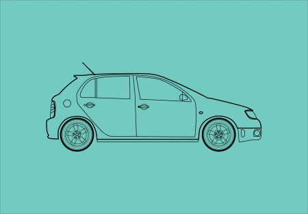 Car from the side - Outline illustration Vector