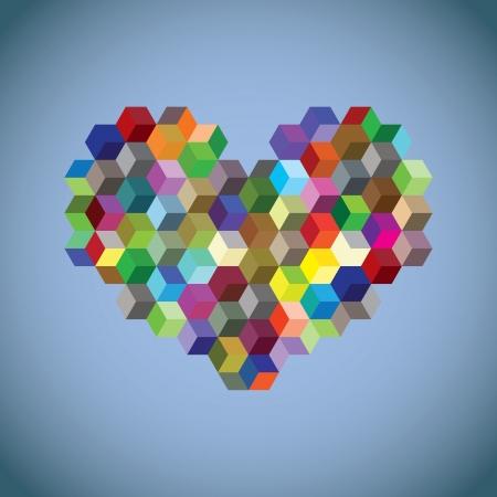 red cube: Cuore simbolo astratto creato da cubi - illustrazione
