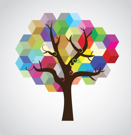 tree symbolic picture created from colour cubes - illustration Stock Vector - 16261870