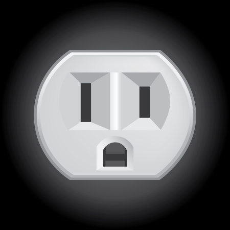 u s: U S  electric household outlet isolated - illustration