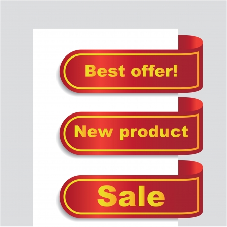 top seller: Ad banner, ribbons with offers, illusration