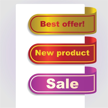 Ad banner, ribbons with offers, illusration Vector