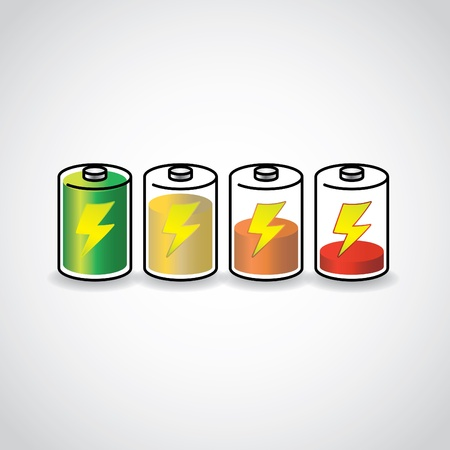 recharge: set of batteries with different level of charge, illustration
