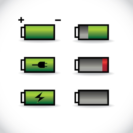 battery charger: set of batteries with different level of charge, illustration