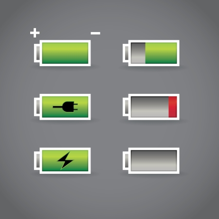 capacity: set of batteries with different level of charge, illustration