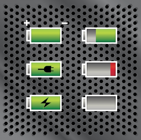 capacity: set of batteries with different level of charge, on metal background, illustration Illustration