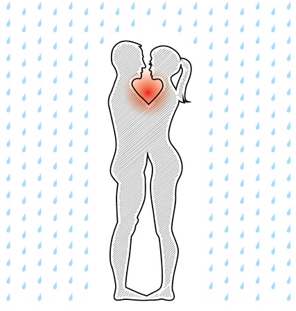 couple in rain: silhouette of young couple standing in the rain - illustration Illustration
