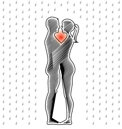 stylish boy: silhouette of young couple standing in the rain - illustration Illustration