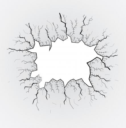 broken glass table, cracks, illustration Vector