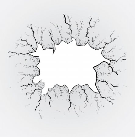 gaten: gebroken glazen tafel, scheuren, illustratie