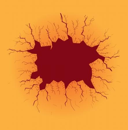 dark hole with cracks, illustration Vector
