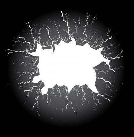 Agujero de la luz con las grietas sobre un fondo oscuro, ilustración Foto de archivo - 16720039