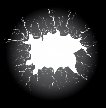 bullet hole: light hole with cracks on a dark background, illustration Illustration