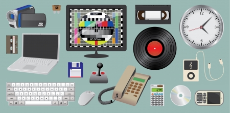 video cassette tape: set of electronic daily usage devices, ilustration