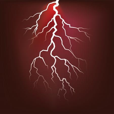 lightning strike: Lighting flash on the dark sky - illustration