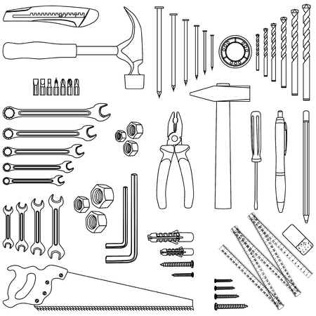 drill bit: Outlined D.I.Y. hand tool set, illustration