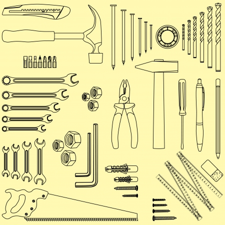 Outlined D.I.Y. hand tool set, illustration Vector