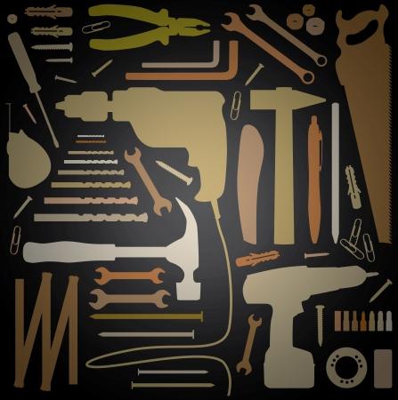 diy tool - silhouette illustration Stock Vector - 16720220