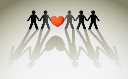 La figura humana en una fila sosteniendo el corazón rojo - ilustración Foto de archivo - 16719874
