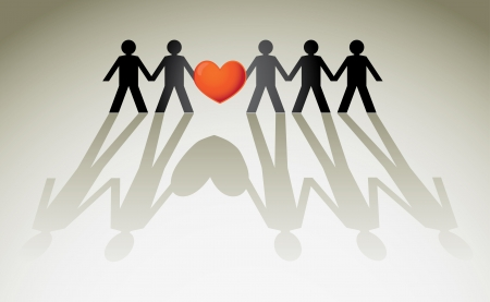 manos sosteniendo: la figura humana en una fila sosteniendo el corazón rojo - ilustración Vectores