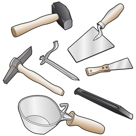 bricklayer: isolated realistic illustration of masons tool