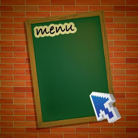eyecatcher: menu card on brick wall with mouse pointer arrpw - illustration