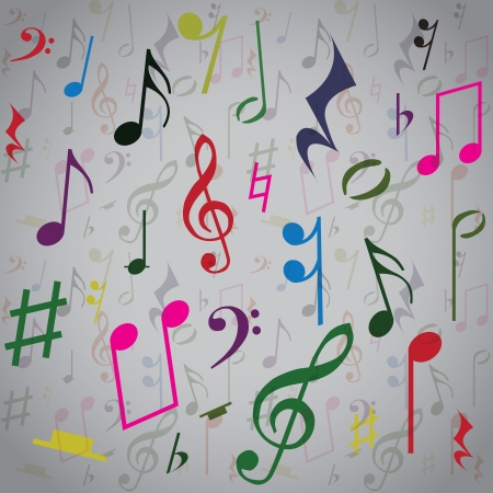 musical ornament: Background created from music notes, illustration