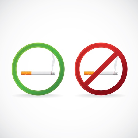 Smoking allowed and No smoking stop sign symbol; illustration Vector