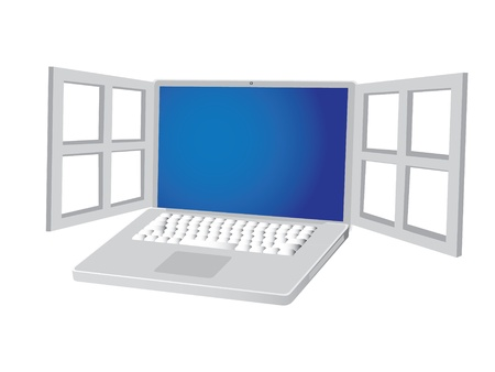 Metalic laptop with open window, illustration Stock Vector - 16719992