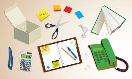 office desktop: Office desktop with typical equipment, illustration