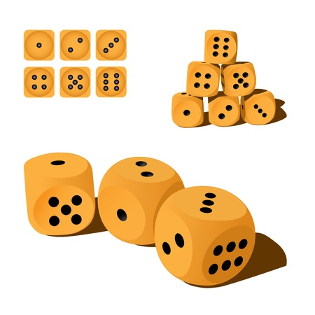 set of wooden playing dices, illustration Vector