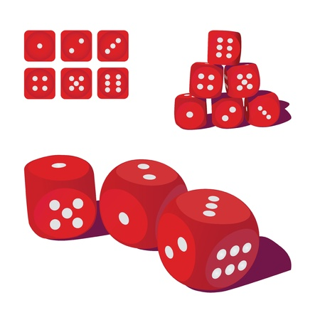 set of red playing dices, illustration Stock Vector - 16720003