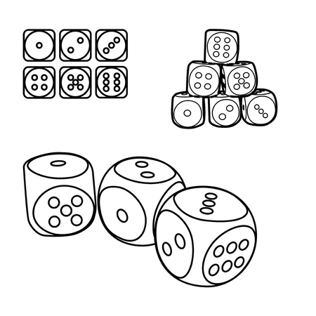 outline set of playing dices, illustration Stock Vector - 16720001