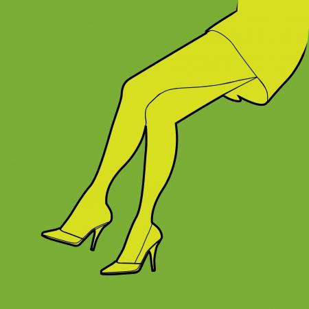 outline hot woman legs, illustration Vector