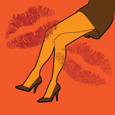 hot girl legs: outline hot woman legs and prints of lipstick, illustration