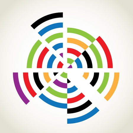 Split rings with many colours, abstract illustration Stock Vector - 16719821