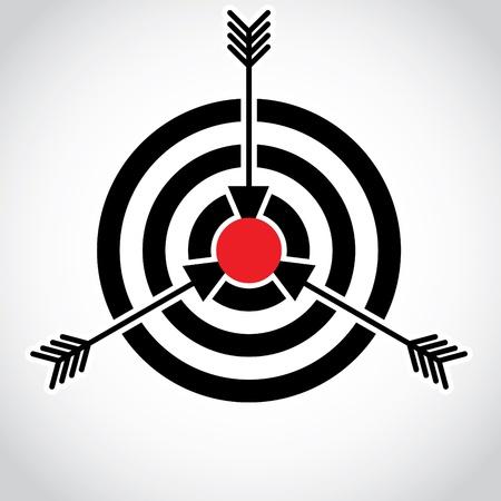 arco y flecha: Flechas en un campo rojo sobre el blanco, ilustración Vectores