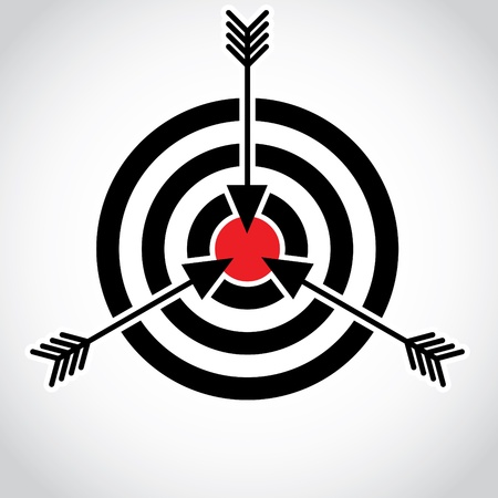 Arrows in a red field on the target, illustration Vector