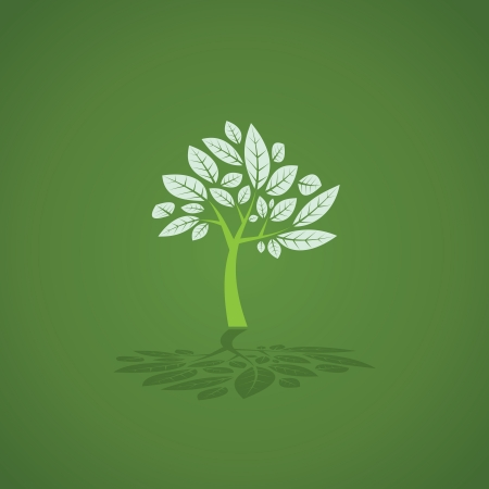 Green tree created from trunk and leafs - illustration