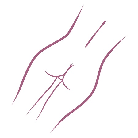 black breast: beauty woman back - outline illustration Illustration